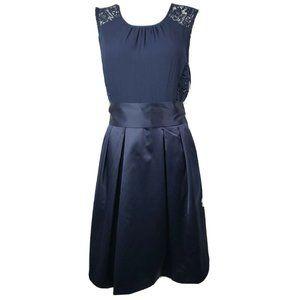 THE LIMITED Blue Lace Satin Sleeveless Dress Sz 8